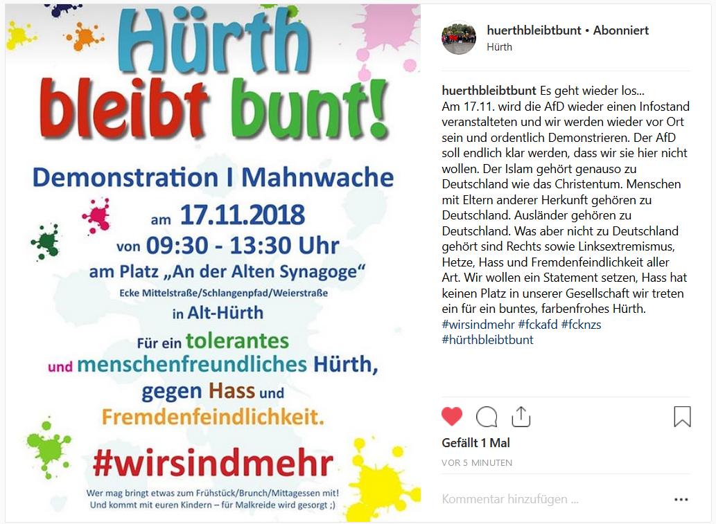 Instagram: Aufruf zur Demo in Alt-Hürth am 17.11.2018
